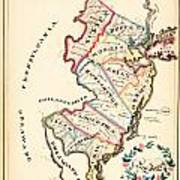 Antique Map Of New Jersey Art Print