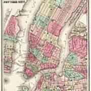 Antique Map Of New York City Art Print