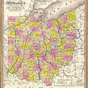 Antique Map Of Ohio 1850 Art Print