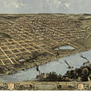 Antique Map Of Omaha Nebraska By A. Ruger - 1868 Art Print by Blue Monocle