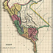 Antique Map Of Peru By Henry Charles Carey - 1822 Art Print