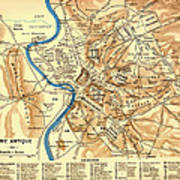 Antique Map Of Rome During Antiquity 1870 Art Print