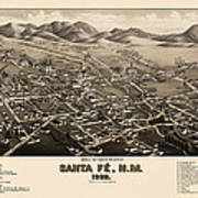 Antique Map Of Santa Fe New Mexico By H. Wellge - 1882 Art Print by Blue Monocle