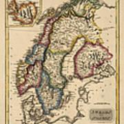 Antique Map Of Scandinavia By Fielding Lucas - Circa 1817 Art Print