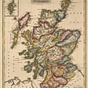Antique Map Of Scotland By Fielding Lucas - Circa 1817 Art Print