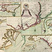 Antique Map Of South Carolina By Edward Crisp - Circa 1711 Art Print