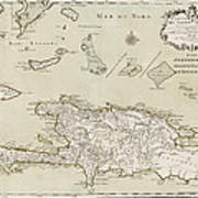 Antique Map Of The Dominican Republic And Haiti By Jacques Nicolas Bellin - 1745 Art Print