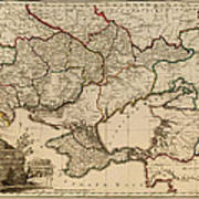 Antique Map Of The Russian Empire In Russian 1800 Art Print