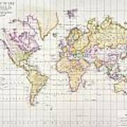 Antique Map Of The World Art Print by James The Elder Wyld