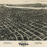 Antique Map Of Tulsa Oklahoma By Fowler And Kelly - 1918 Art Print