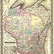 Antique Map Of Wisconsin 1855 Art Print