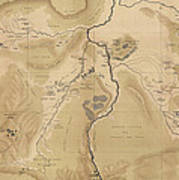 Antique Map Of Yellowstone National Park - Lower Geyser Basin - 1872 Art Print