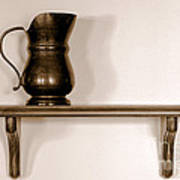 Antique Pewter Pitcher On Old Wood Shelf Art Print