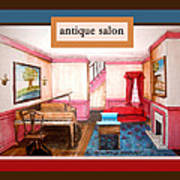 Antique Salon - Colonial Red And Blue Art Print