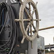 Antique Ship Steering Wheel Art Print