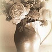 Antique Vase And Roses Art Print