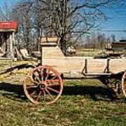Antique Wagon And Mountain Cabin 1 Art Print by Douglas Barnett