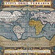 Antique World Map Circa 1570 Art Print
