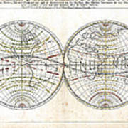 Antique World Map Harmonie Ou Correspondance Du Globe 1659 Art Print