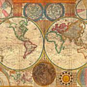 Antique World Map In Hemispheres 1794 Art Print