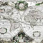 Antique World Map Poster Art Print