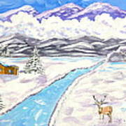 Antlers And Snow Art Print