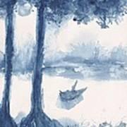 Antwerp Blue Landscape Watercolor Art Print