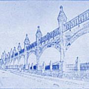 Antwerp Railway Bridge Blueprint Art Print