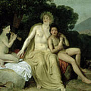 Apollo With Hyacinthus And Cyparissus Singing And Playing, 1831-34 Oil On Canvas Art Print