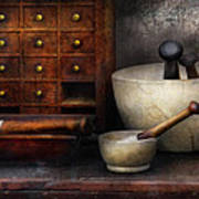 Apothecary - Pestle And Drawers Art Print by Mike Savad