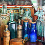 Apothecary - Remedies For The Fits Art Print by Mike Savad