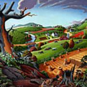 Appalachian Fall Thanksgiving Wheat Field Harvest Farm Landscape Painting - Rural Americana - Autumn Art Print