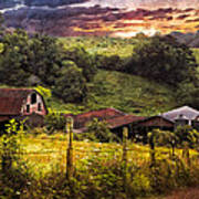 Appalachian Mountain Farm Print by Debra and Dave Vanderlaan