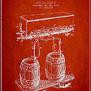 Apparatus For Beer Patent From 1900 - Red Art Print
