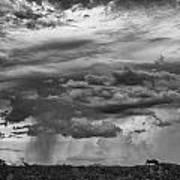 Approaching Storm Black And White Art Print by Douglas Barnard