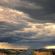 Approaching Storm On Country Road Art Print