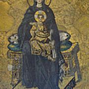 Apse Mosaic Hagia Sophia Virgin And Child Print by Ayhan Altun