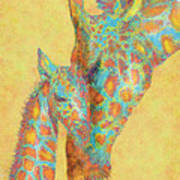 Aqua And Orange Giraffes Art Print