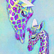 Aqua And Purple Loving Giraffes Art Print
