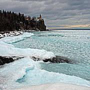 Aqua Ice At Split Rock Lighthouse Art Print