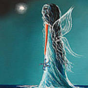 Aquamarine Fairy By Shawna Erback Print by Shawna Erback