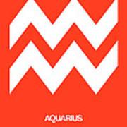 Aquarius Zodiac Sign White On Orange Art Print
