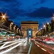 Arc De Triomphe At Dusk Paris Art Print
