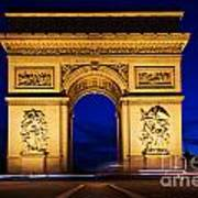 Arc De Triomphe At Night Paris France Art Print