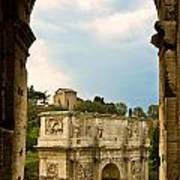 Arch Of Constantine Through The Colosseum Art Print
