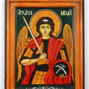Archangel Michael Hand-painted Wooden Holy Icon Orthodox Iconography Icons Ikons Art Print by Denise Clemenco