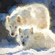Arctic Wolves - Painterly Art Print