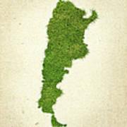 Argentina Grass Map Art Print by Aged Pixel