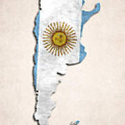 Argentina Map Art With Flag Design Art Print