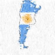 Argentina Painted Flag Map Art Print